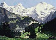 Compton, Sommertag im Berner Oberland mit Eiger, Mönch und Jungfrau