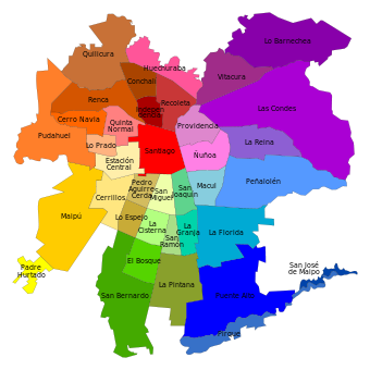 Map of Santiago communes