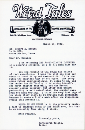 Letter from Farnsworth Wright, editor of Weird...