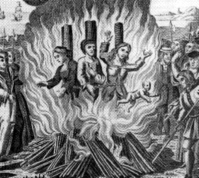 The burning of the Guernsey Martyrs during the Marian persecutions in 1556 Condemned Witches burning in St. Peter's Port (582x800).jpg