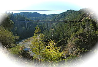 Confusion Hill Bridges - The south span of the bridge nearing completion, looking southwestwards from near Highway 101
