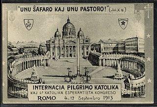 Cartão postal feito por ocasião do 4º Congresso Católico Esperantista, de 4 a 12 de setembro de 1913 em Roma