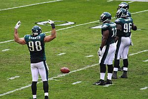 Connor Barwin - Barwin gesturing to the crowd during a Philadelphia Eagles game.