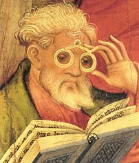 The 'Glasses Apostle' in the altarpiece of the church of Bad Wildungen (Germany).