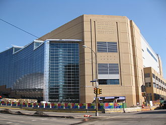 PPG Paints Arena - Outside of the arena in March 2010 before it officially opened (note: the reflection of the old Civic Arena can be seen in the new arena's glass windows)