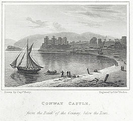 Conway Castle, from the Bank of the Conway, below the Town