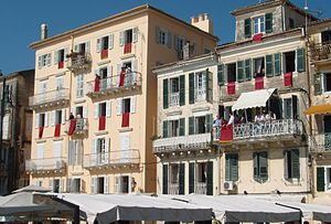 Corfu (city) - Typical houses of Corfu city.