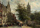 Cornelis Springer, The Gemeenlandshuis and the Old Church, Delft, Summer (1877)