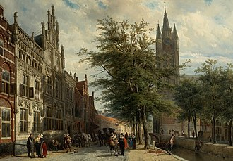 Delft - The Gemeenlandshuis and the Old Church in (1877) by Cornelis Springer