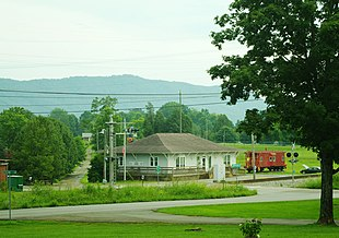 """Corryton Branch Library, with <a href=""""http://search.lycos.com/web/?_z=0&q=%22House%20Mountain%20%28Knox%20County%2C%20Tennessee%29%22"""">House Mountain</a> in the distance"""