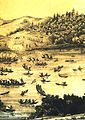 Cossacks attack Lithuanian fleet at Kyiv (color, detail).jpg