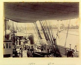 HMS Pylades (1884) - Crew on HMS Pylades at Brisbane in June 1896