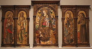 Enthroned Virgin and Child, with Angels and Saints Bonaventure, John the Baptist, Louis of Toulouse, and Francis of Assisi