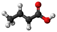 Ball-and-stick model of the crotonic acid molecule