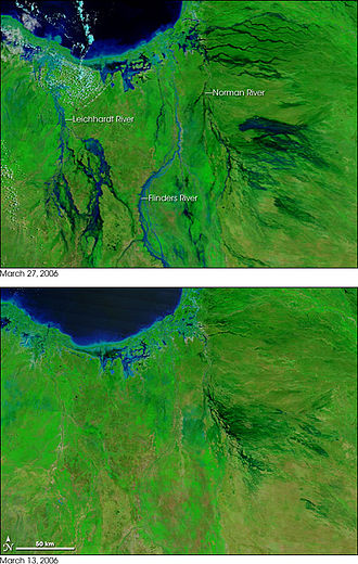 Cyclone Larry - False-color image showing the extent of flooding in the area around Normanton and Karumba, Queensland. Green indicates vegetation and blue indicates water. The top image is two weeks after the bottom.