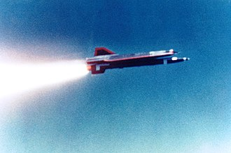 Lockheed D-21 - A D-21B being launched, illustrating the size of the booster relative to the drone