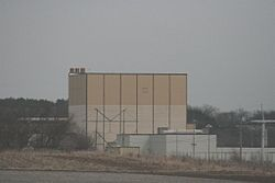 View of power plant from road