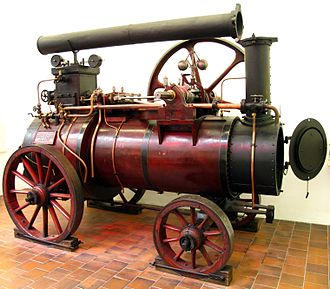 Launch-type boiler - Early semi-portable engine, 1860s, with enlarged furnace