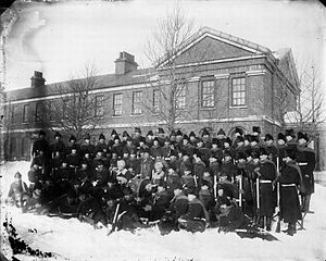 "King's Regiment (Liverpool) - ""D"" Company of the 1st King's, Wellington Barracks, Halifax, Nova Scotia, early 1890s."