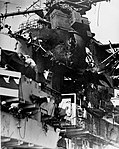 Damage of the island onboard the aircraft carrier Ticonderoga.jpg