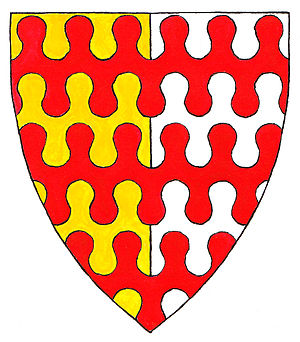 Dauntsey - Arms of John Dauntsey: Per pale or and argent, 3 bars nebulée gules. These arms can be seen on various monuments within the parish church