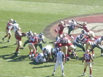 Field goal - The San Francisco 49ers block a field goal attempt by Philadelphia Eagles kicker David Akers on October 12, 2008, and return it for a touchdown.