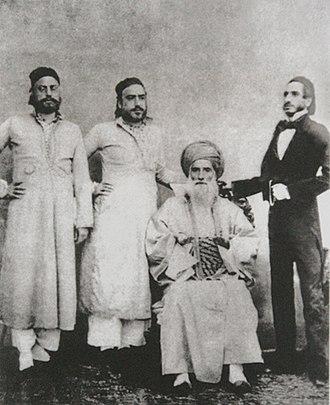 Baghdadi Jews - Prominent Bagdadi Jewish patriarch David Sassoon (seated) and his sons Elias David, Albert (Abdallah), and Sassoon David Sassoon