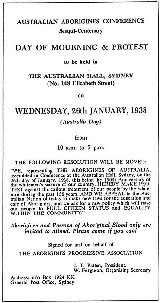 Day of Mourning (Australia) - Proclamation of the Day of Mourning.