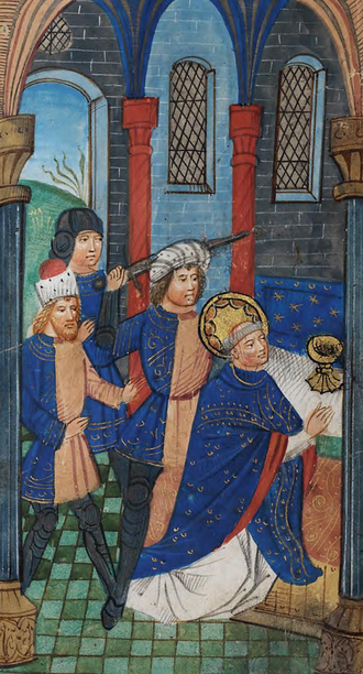 Thomas Becket - Illumination from an English book of hours containing an account of the murder of Becket, c. 1390, National Library of Wales