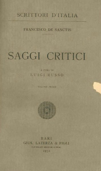 File:De Sanctis, Francesco – Saggi critici, Vol. I, 1952 – BEIC 1803461.djvu
