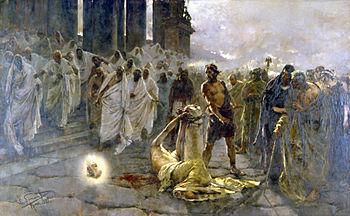 Decapitación de San Pablo . Pintura de Enrique Simonet de 1887.
