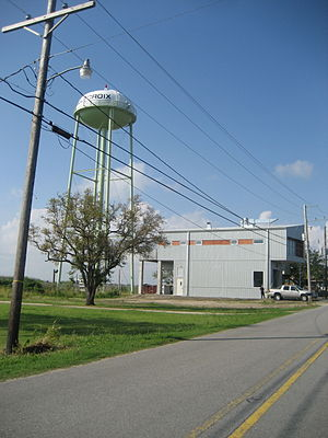 Delacroix Island, Louisiana - Fire station and water tower, Delacroix