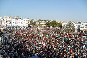 Arab Spring - Thousands of demonstrators gather in Bayda