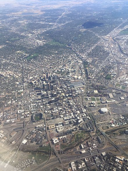 Aerial photograph of Denver from the northwest Denver aerial 2016.jpg