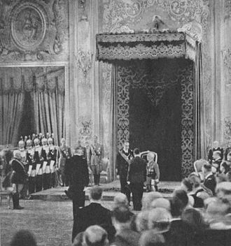 Prince Aimone, Duke of Aosta - Designation of Aimone as King of Croatia on 18 May 1941. In front of him poglavnik Pavelić with the Croatian delegation
