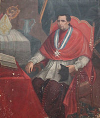 Detalle del retrato de Agustín Rubín de Ceballos en la sacristía de Santa María de Dueñas.JPG