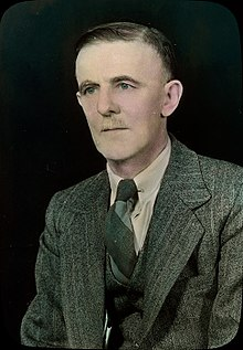 Colourized studio portrait of Diamond Jenness, circa 1950