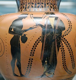 Exekias - Dionysos, the god of wine, with his son Oenopion, Attic black-figure amphora, dated ca. 540–530 BC, located in the British Museum (B 210)