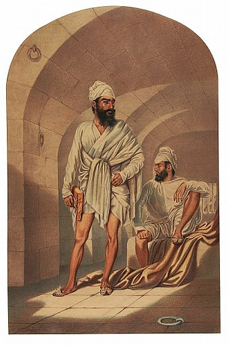 Diwan Mulraj Chopra - In a cell with a companion. Painting by Colesworthey Grant c. 1850