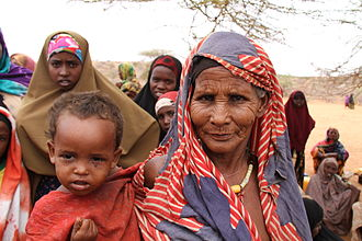 2011 East Africa drought - A Somali woman and child at a relief center in Dollow on the Somalia-Ethiopia border.