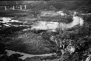 Todmorden Mills - Todmorden Mills site in 1931 before construction of Don Valley Parkway. The Don Valley Brick Works can be seen in the distance