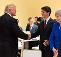 Donald Trump, Justin Trudeau and Theresa May at the G20 Summit in Germany on 7 July 2017.jpg