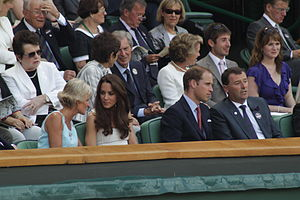 2011 Wimbledon Championships - Duke and Duchess of Cambridge watching the action from the Royal box of Centre Court