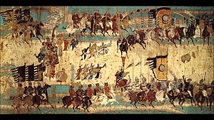 Mural commemorating victory of Zhang Yichao over the Tibetan Empire in 848. Mogao cave 156 Dunhuang Zhang Yichao army.jpg