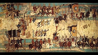 Hexi Corridor - Mural commemorating victory of General Zhang Yichao over the Tibetan Empire in 848. Mogao cave 156, late Chinese Tang Dynasty