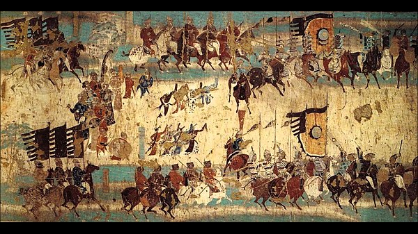A late Tang mural commemorating the victory of General Zhang Yichao over the Tibetans in 848 AD, from Mogao cave 156 Dunhuang Zhang Yichao army.jpg