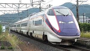Mini-shinkansen - An E3-2000 series train on the Yamagata Shinkansen in September 2015