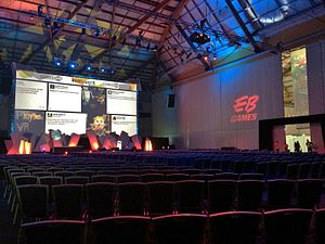 "EB Games Expo 2015 - ""The Arena"", the presentation stage, which had shrunk in capacity from previous years."