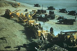 Ernest Harmon Air Force Base - Rock crushing operations along the Hansen Highway 1960