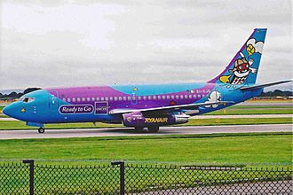 Eircell - A Ryanair Boeing 737-200 aircraft in Eircell livery in 2000